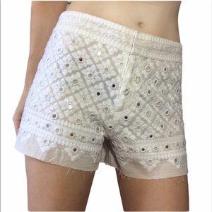 Free People White India Tiny Mirror Shorts